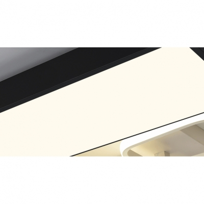 Minimalist Square Frame Ceiling Flush with Trapezoid Acrylic Shade LED Ceiling Lamp in White