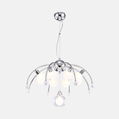 Nordic Style Meteor Style Hanging Light with Globe Glass Shade 9 Lights Chandelier Lamp in Chrome