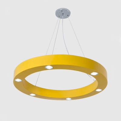 Ring Shape 6-LED Flush Ceiling Light Orange/Yellow Metal Ceiling Lamp for Corridor