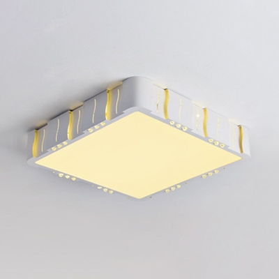White Brick Shade LED Flush Light with Acrylic Shade Modernism Lighting Fixture for Study Room