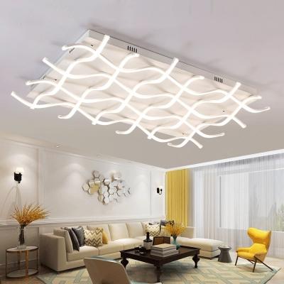 White Ripple Led Ceiling Lamp Modern Chic Metallic Flush Light Fixture