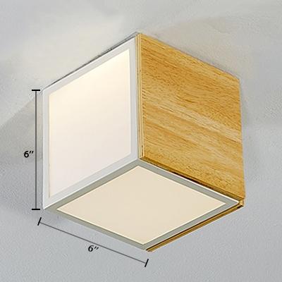Wooden Cube Flush Ceiling Light Nordic Style LED Flush Mount in Warm/White for Corridor Hallway