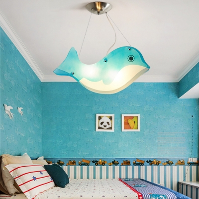 2 Lights Blue Dolphin Pendant Lamp Cartoon Style Boys Girls Bedroom Acrylic Hanging Lamp