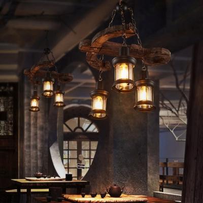 3 Heads Lantern Chandelier Light with Anchor Loft Style Wooden Light Fixture in Black