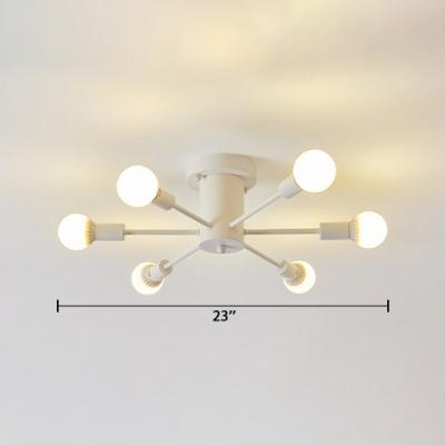 5/6 Lights Starburst Semi Flushmount with Open Bulb Modern Metallic Ceiling Flush Mount in Matte White