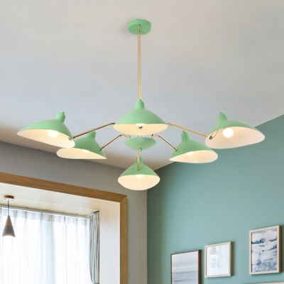 6 Lights Curved Arm Suspended Light Contemporary Metal Chandelier Lamp in Mint Green