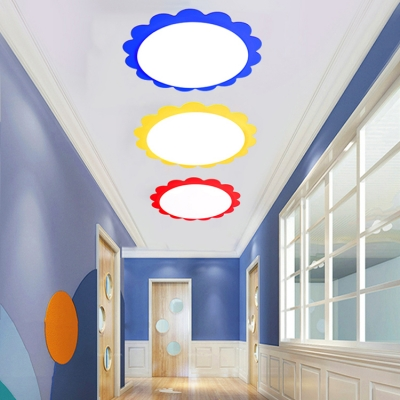 Acrylic LED Flush Light with Sunflower Blue/Red/Yellow Ceiling Lamp for Kindergarten