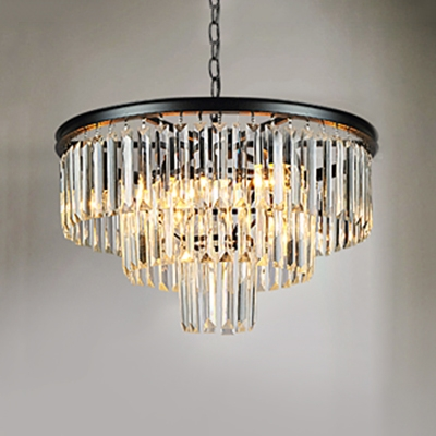 Black Finish 3 Tiers Chandelier with Amber Crystal Modern Chic 6 Heads Hanging Lamp for Foyer