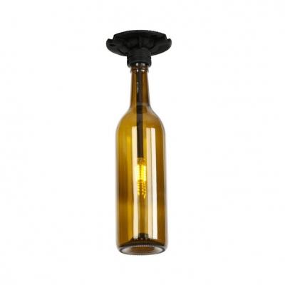 Colorful Industrial Bottle Semi Flush Mount Glass Shade Single Head Semi Flush Light Fixture in Black Finish