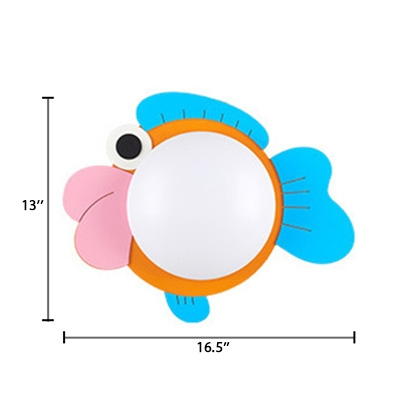 Fish Design Wall Mount Light with Bowl Acrylic Shade Kindergarten LED Sconce Light in Pink