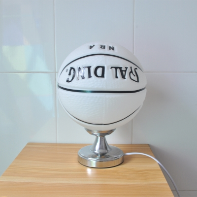 Glass Shade Standing Table Light with Brown/White Basketball 1 Light Table Lamp for Boys Room