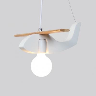 Lovely Airplane Hanging Light Nursing Room Wooden Single Head Drop Light in Purple/White/Yellow