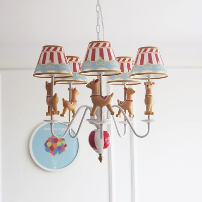 Lovely Cartoon Deer Hanging Light with Fabric Shade Nursing Room 5 Heads Chandelier Lamp in White
