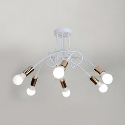 Modernism Bare Bulb Semi Flush Light with White Curved Arm Metal 3/5/6 Heads Art Deco Ceiling Lamp
