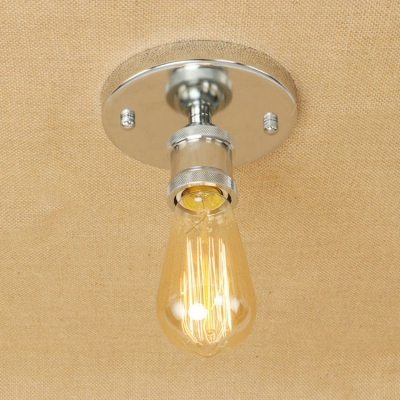 Polished Chrome Mini Ceiling Light Industrial Iron Single Light Indoor Lighting with Bare Bulb for Kitchen