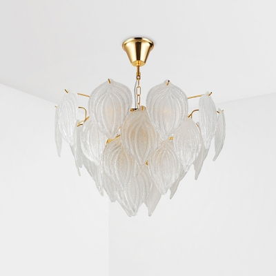 Seeded Glass Leaf Shape Suspended Light Nordic Height Adjustable 4 Bulbs Chandelier in Gold
