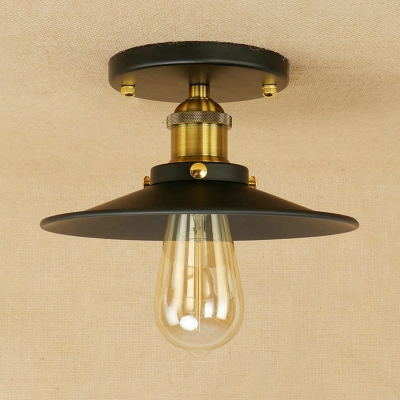 Shallow Round Semi Flush Mount Light Traditional Simple Iron 1 Head Ceiling Lamp in Brushed Brass, HL504567