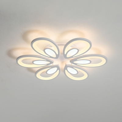 Simplicity Peacock LED Semi Flush Light Acrylic Lampshade 6-LED Living Room Lighting in Warm/White/Neutral
