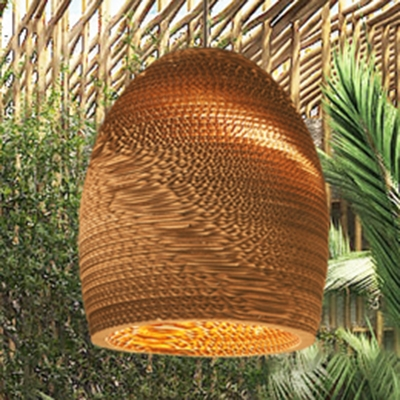 Single Light Basket Lamp Light Asian Style Paper Hanging Pendant Light in Brown for Sitting Room