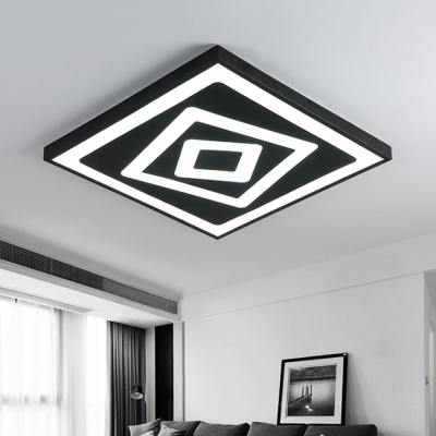 Stylish Modern Square Led Flush Mount Metallic Ultra Thin Ceiling