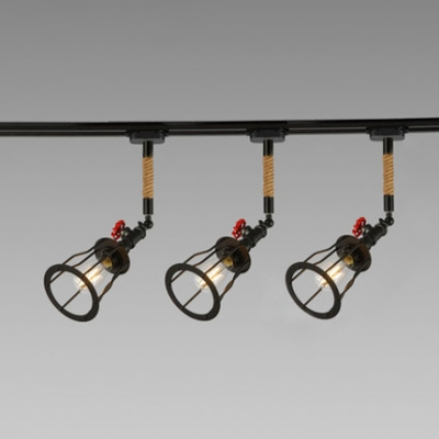 Triple Lights Rope Wrapped Ceiling Light Lodge Style Ceiling Flush Mount with Black Wire Guard
