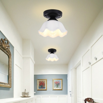 White Glass Scalloped Ceiling Light Industrial Single Light Semi Flush Mount Lighting for Corridor