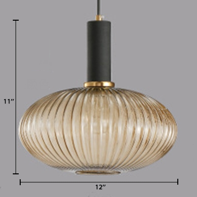 1 Head Bottle Lighting Fixture Contemporary Cognac Ribbed Glass Hanging Lamp for Living Room