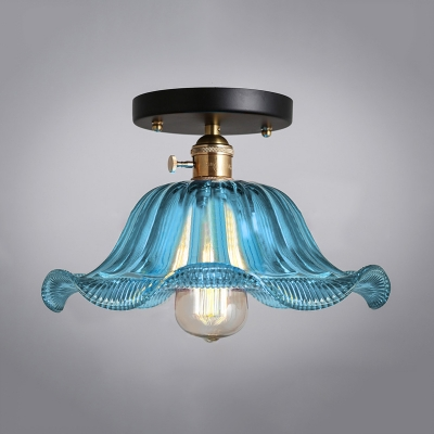 1 Head Flared Semi Flush Light Fixture Traditional Indoor Lighting with Sky Blue Wavy Glass Shade