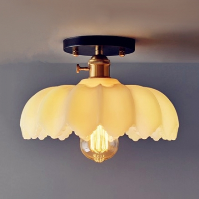 1 Light Scalloped Ceiling Lamp with Amber/White Glass Shade Vintage Decorative Surface Mount Ceiling Light