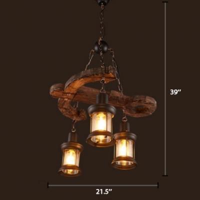 3 Heads Lantern Chandelier Light With Anchor Loft Style Wooden