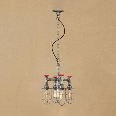 5 Lights Caged Chandelier Light Vintage Metal Suspended Light in Antique Bronze/Antique Silver