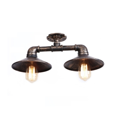 Distressed Industrial Pipe Indoor Lighting with Flared Metal Shade 2 Heads Ceiling Fixture in Bronze/Silver