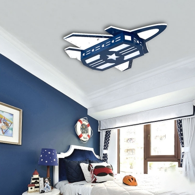 Airplane LED Flush Light Modernism Boys Bedroom Wooden Ceiling Fixture in Dark Blue