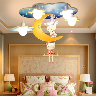 Cartoon Moon Flush Light Nursing Room Acrylic 4 Heads Ceiling Flush Mount in White Finish