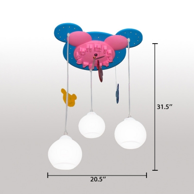 Cartoon Mouse 3 Lights Hanging Lamp with Clock Design White Glass Shade Pendant Light for Kids