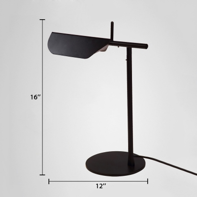 Folded Standing Table Light Simple Concise Metal 1 Light Desk Lamp in Black for Study Room