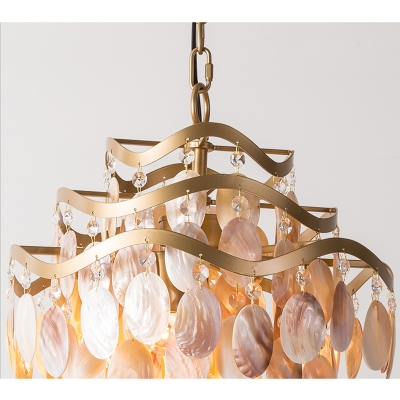 Modern Chic Tiered Suspension Light Shelly 4 Heads Art Deco Chandelier Lamp in Gold