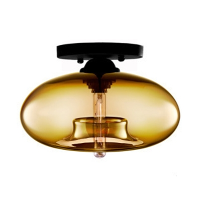 Ovale Semi Flush Mount Modern Chic Colorful Glass Shade 1 Head Ceiling Flush Mount in Black Finish