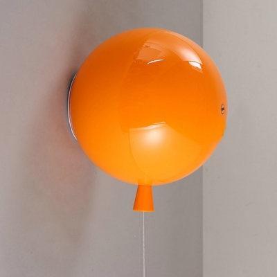 Plastic Wall Sconce with Orange/White/Yellow Balloon Shade Single Light Wall Light with Pull Chain