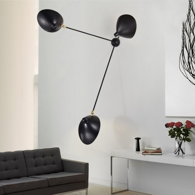 Rotatable 3 Lights Duckbill Wall Lamp Contemporary Metallic Wall Mount Light in Black for Sitting Room