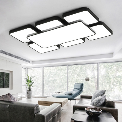 Super-thin Oblong LED Flush Mount Modernism Metal Indoor Lighting Fixture in Black for Hotel Hall