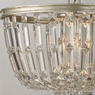 Vintage Bowl Shade Hanging Light Crystal 3 Bulbs Chandelier Lamp in Antique Silver for Bedroom