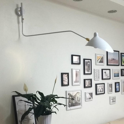 White Swing Arm Sconce Light with Duckbill Shade Contemporary Metal 1 Light Wall Mount Light