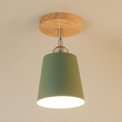 1 Bulb Conical Ceiling Light with Colorful Metal Shade Industrial Minimalist Semi Flush Light Fixture in Chrome