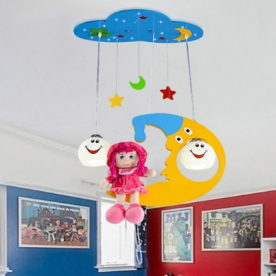 2 Lights Cartoon Moon Hanging Light Nursing Room Lighting Fixture with Globe Glass Shade in Chrome