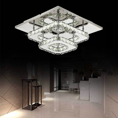 2 Tiers Square Semi Flush Mount with Clear Crystal Modern Fashion LED Ceiling Fixture for Corridor, HL503060