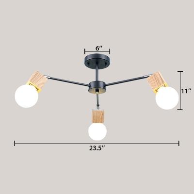 3/5/8 Lights Branch Chandelier Light Modern Metallic Hanging Light in Wood for Living Room