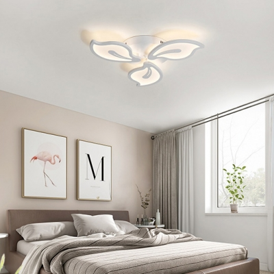3/5 Heads Petal Ceiling Lamp Modern Eye Protection Acrylic Semi Flushmount in White for Bedroom