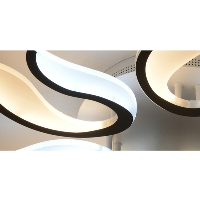3/5/6 Lights Curved Semi Flushmount Contemporary Metallic Art Deco LED Ceiling Lamp in White