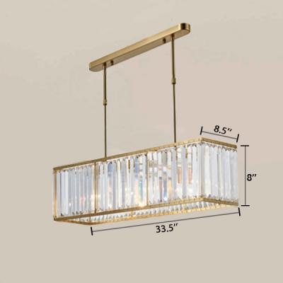 4 Lights Rectangle Chandelier Light Modern Luxury Crystal Suspended Light in Gold for Hotel Hall